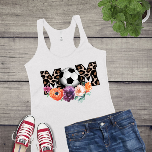 Tank Top GRAPHIC SUBLIMATED SHIRT Mom Soccer Tan