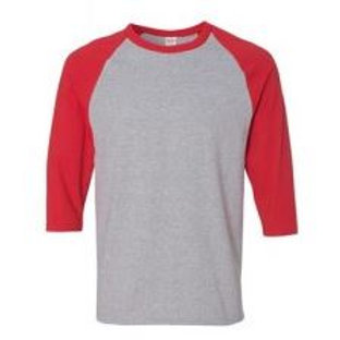 Gildan Unisex 3/4 Sleeve Raglan Tee Red/Sport Grey