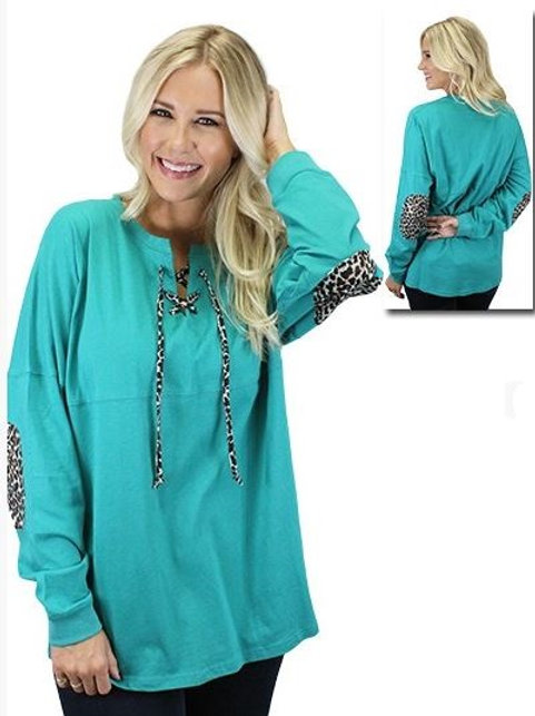 Leopard Lace Up Spirit Jersey with Elbow Patches Turquoise