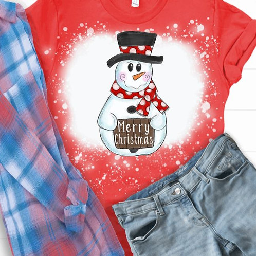 BLEACHED TEE Short or Long Sleeve Snowman Merry Christmas