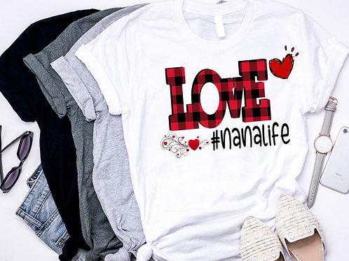 SUBLIMATED TEE Short or Long Sleeve PLAID Love Hashtag