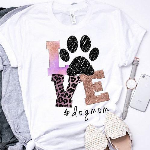 SUBLIMATED TEE Short or Long Sleeve Dog Mom LOVE Purple Leopard