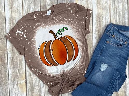 BLEACHED TEE Short or Long Sleeve Doodle Orange Pumpkin