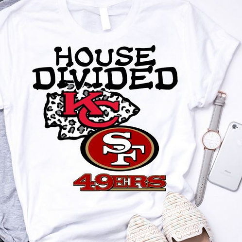 SUBLIMATED TEE Short or Long Sleeve House Divided KC 49ers