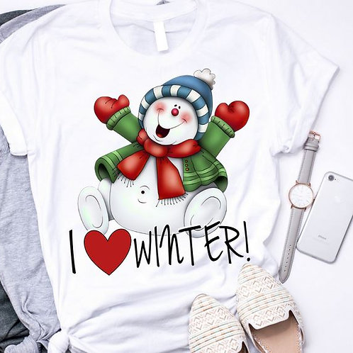 SUBLIMATED TRANSFER ONLY I Love Winter Snowman