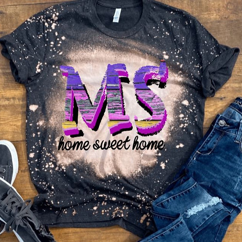 BLEACHED TEE Short Sleeve or Long Sleeve Home Sweet Home Wood Letters ANY STATE