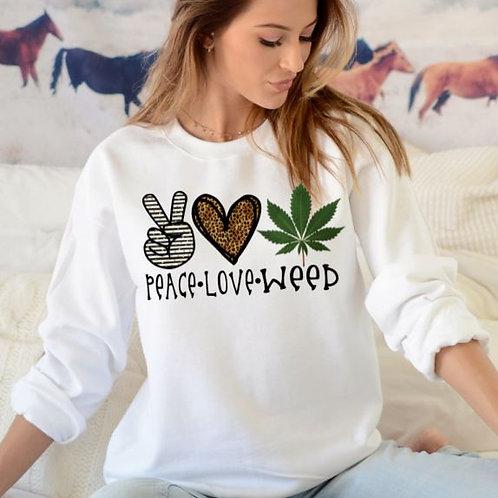 SUBLIMATED Sweatshirt Peace Love Weed