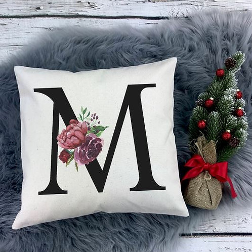 Personalized SUBLIMATED Pillow Covers Flower Initial Black
