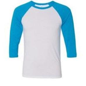 Bella & Canvas Unisex 3/4 Sleeve Raglan Tee Neon Blue/White