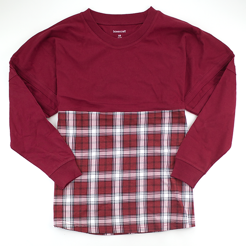 Boxercraft Pom Pom Jersey Adult or Youth Plaid Burgundy/White
