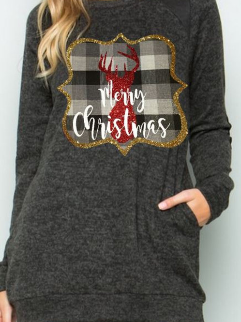 Brushed Knit Elbow Patched Long Sleeve Tunic Plaid Christmas Deer Charcoal