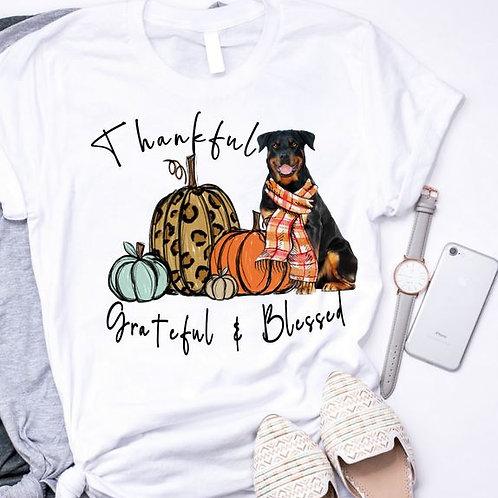 SUBLIMATED TRANSFER ONLY Dog Pumpkin Thankful Grateful Blessed Rottweiler