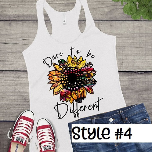 Tank Top SUBLIMATED GRAPHIC SHIRT Hippie Sunflower Dare to be Different Style #4
