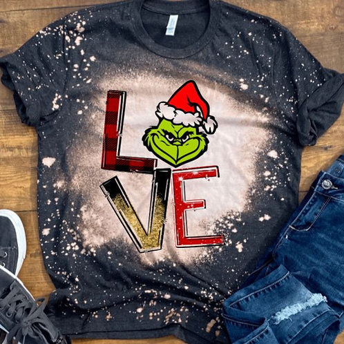 BLEACHED TEE Short or Long Sleeve Christmas LOVE Grinch