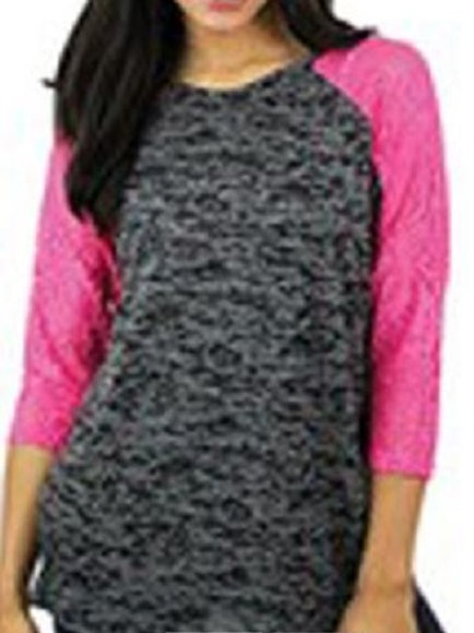 Burnout Baseball 3/4 Sleeve Raglan Shirt Hot Pink Grey