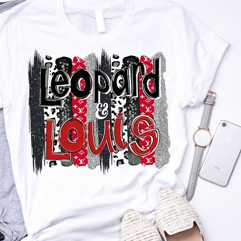 SUBLIMATED TEE Short or Long Sleeve Leopard Louis Red