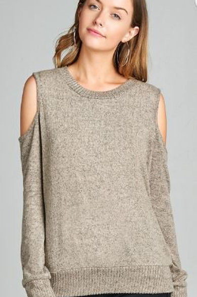 Long Sleeve Round Neck Open Shoulder Brushed Hacci Top Taupe