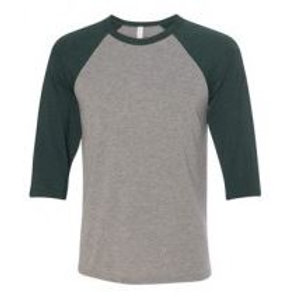 Bella & Canvas Unisex 3/4 Sleeve Raglan Tee Emerald Green/Heather