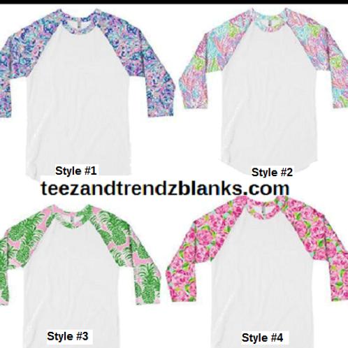 Lily Pulitzer Baseball 3/4 Raglan Shirt 4 Styles