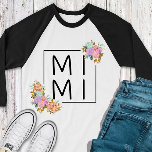 SUBLIMATED TEE RAGLAN Mimi Flower Square