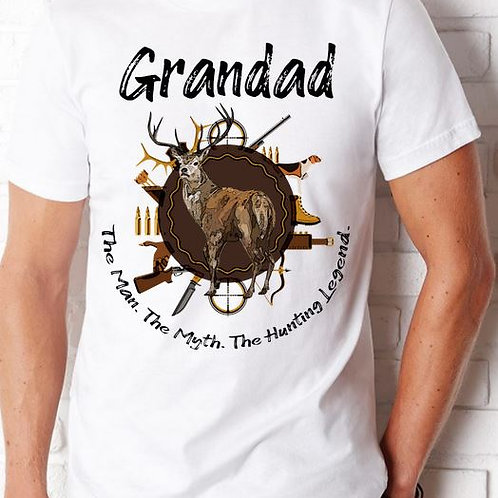 SHORT SLEEVE SUBLIMATED TEES SHIRT Grandad Man Myth Legend Hunting ANY NAME