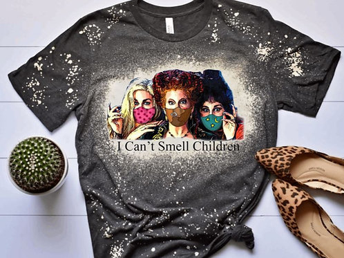 BLEACHED TEE Short or Long Sleeve Halloween Hocus Pocus I Can't Smell Children