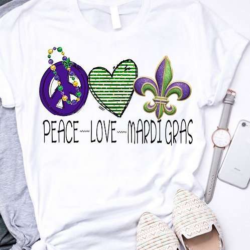 SUBLIMATED TEE Short or Long Sleeve Mardi Gras Peace Love Mardi Gras