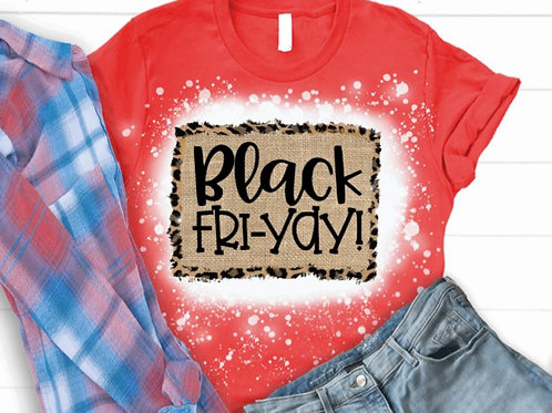 BLEACHED TEE Short or Long Sleeve Black FriYAY Burlap