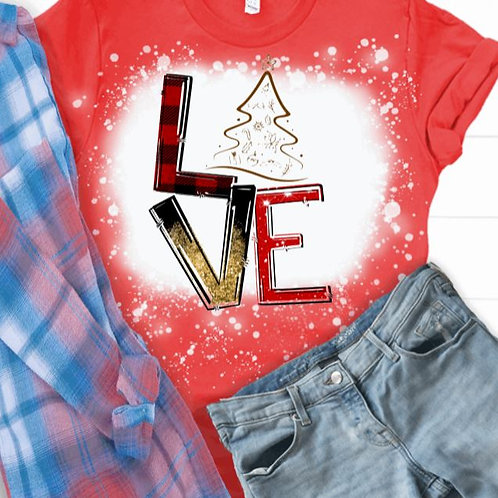 BLEACHED TEE Short or Long Sleeve Christmas LOVE Tree Outline