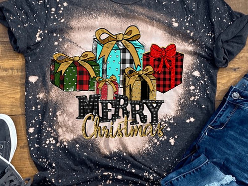 BLEACHED TEE Short Sleeve or Tank Merry Christmas Presents