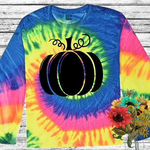 \Graphic Tie Dye TEE Long Sleeve Pumpkin Solid in Black MANY COLORS
