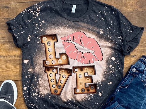 BLEACHED TEE Short or Long Sleeve Valentine Love Marquee Pink Lips
