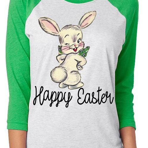 SUBLIMATED RAGLAN Happy Easter Cute Bunny