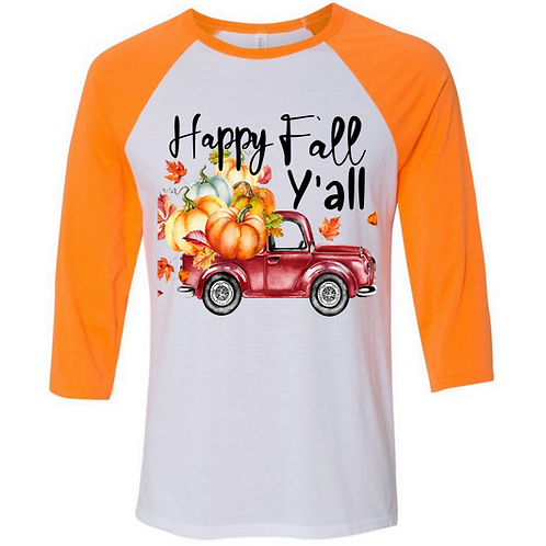 SUBLIMATED TEE Raglan Happy Fall Yall Red Truck