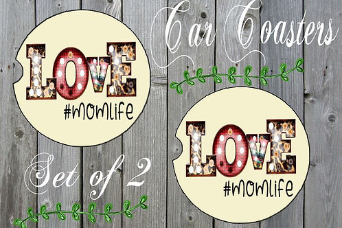 SUBLIMATED Car Coasters Set of 2 Rubber or Sandstone LOVE Mom Life Any Name