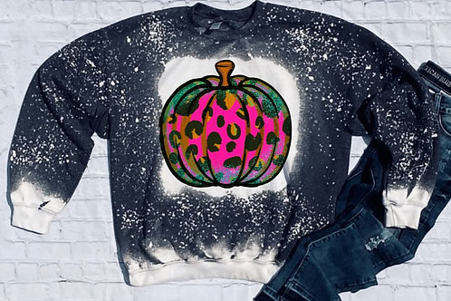SUBLIMATED Bleached Sweatshirt Pink Leopard Pumpkin