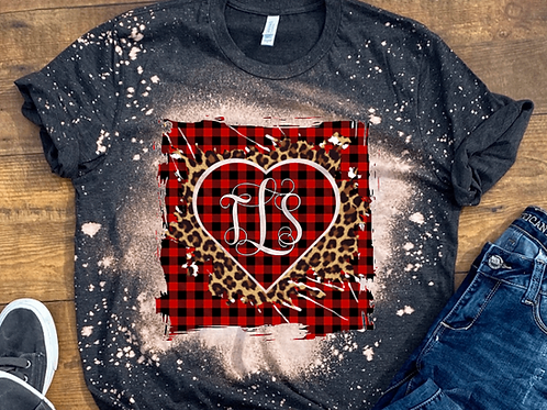 BLEACHED TEE Short or Long Sleeve Valentine Monogram#6
