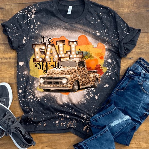 BLEACHED TEE Short or Long Sleeve It's Fall Yall Leopard Truck