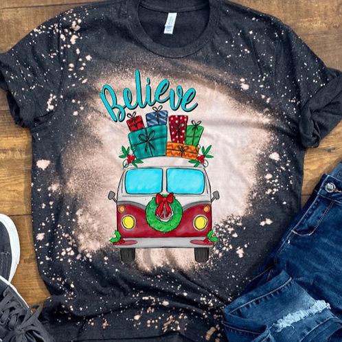 BLEACHED TEE Short or Long Sleeve Christmas Believe VW Van