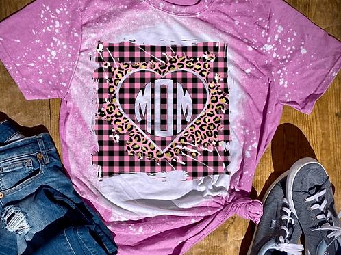 BLEACHED TEE Short or Long Sleeve Valentine Monogram#5