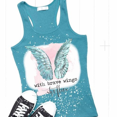 BLEACHED TANK TOP or TEE Brave Wings She Flies
