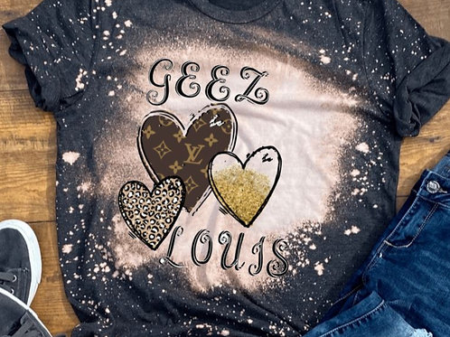BLEACHED TEE Short or Long Sleeve Geez Louis Brown Heart
