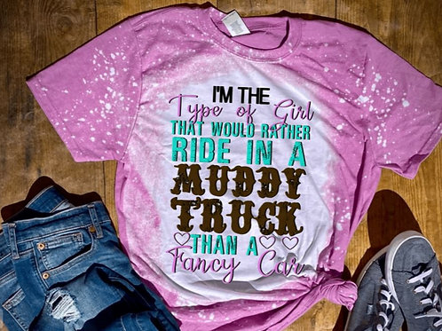 BLEACHED TEE Short Sleeve or Tank Type of Girl Muddy Truck