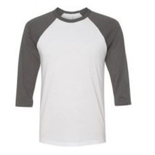 Bella & Canvas Unisex 3/4 Sleeve Raglan Tee Asphalt White