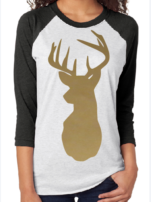 REINDEER RAGLAN SHIRT Many Colors and Sizes