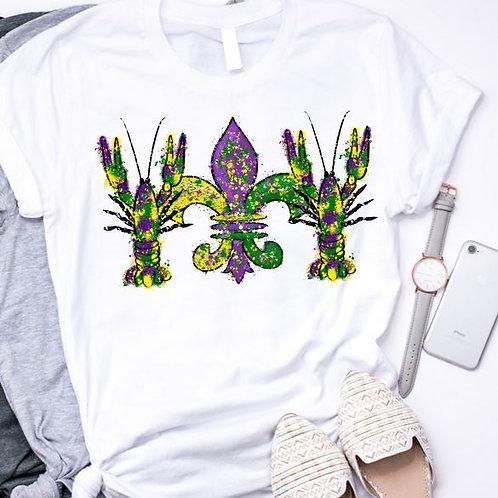 SUBLIMATED TRANSFER ONLY Mardi Gras Crawfish Fleur de lis Watercolor