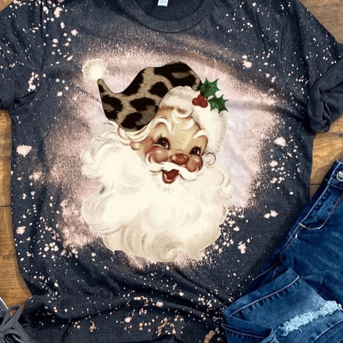 BLEACHED TEE Short Sleeve or Tank Christmas Santa