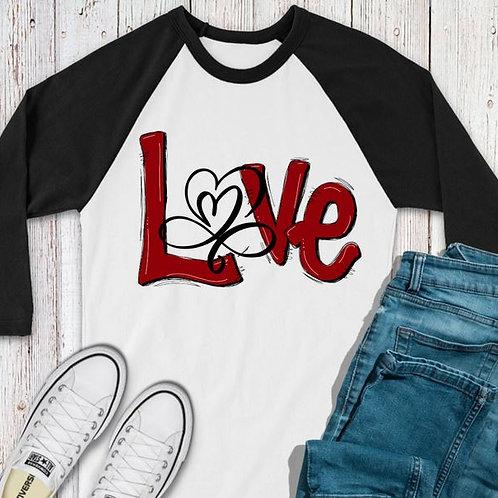 SUBLIMATED TEE RAGLAN LOVE Valentine's Love Open Heart Red