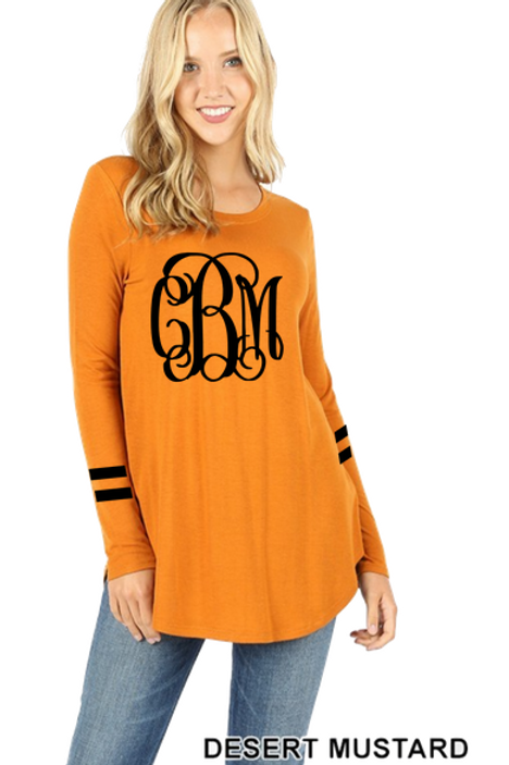 GRAPHIC TEE Tunic Long Sleeve Mustard Team or Monogram
