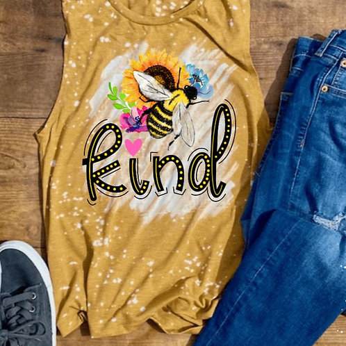 BLEACHED TANK TOP or TEE Be Kind